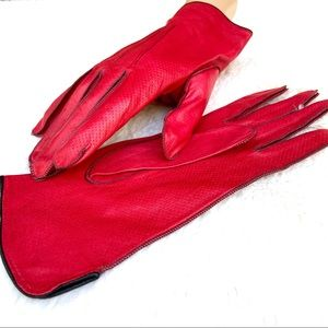 GRANDOE Vintage Red Soft Ultra Thin Leather Gloves